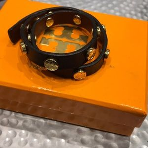 Brown Tory Burch Leather Wrap Bracelet